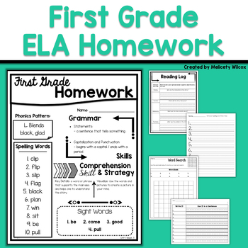 First Grade ELA Homework for the Whole Year