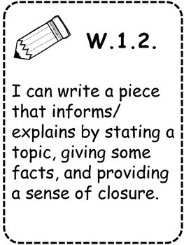 First Grade ELA I Can Statement Lists & Posters