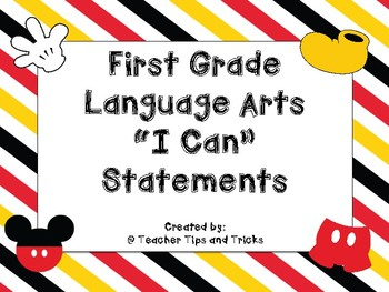 """First Grade ELA """"I can"""" Statements *DISNEY THEMED*"""
