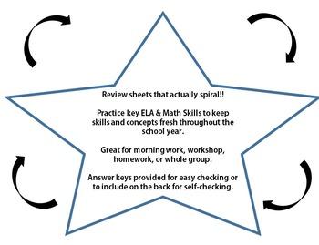 Free First Grade ELA Math Review Mats