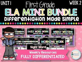 First Grade ELA Mini Bundle (Unit 1, Week 2)