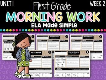 First Grade ELA Morning Work (Unit 1, Week 2)