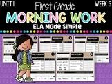 First Grade ELA Morning Work (Unit 1, Week 5)
