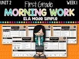 First Grade ELA Morning Work (Unit 2, Week 1)