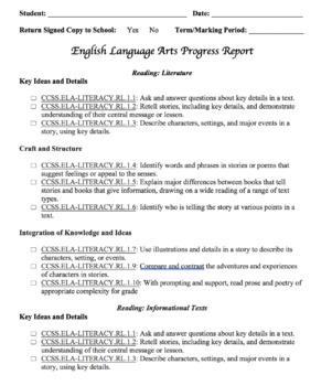 First Grade ELA Progress Reports