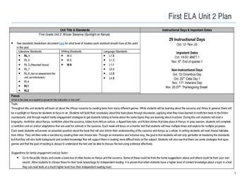 First Grade ELA Unit Plan- African Savanna