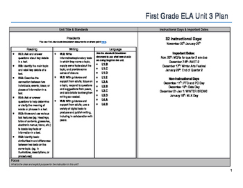 First Grade ELA Unit Plan- Presidents