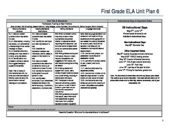 First Grade ELA Unit Plan- Trailblazers