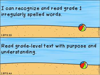 """First Grade ELA and Math CCSS """"I Can"""" Statements: Beach-Themed"""