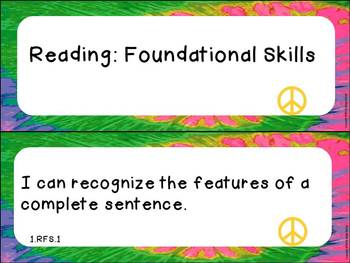 """First Grade ELA and Math CCSS """"I Can"""" Statements: Groovy-Themed"""