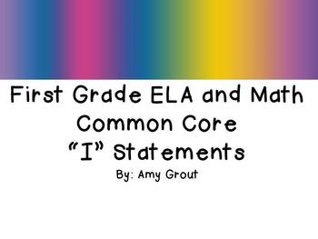 "First Grade ELA and Math CCSS ""I Can"" Statements: Groovy-Themed"