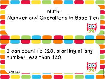 """First Grade ELA and Math CCSS """"I Can"""" Statements: Owl-Themed"""