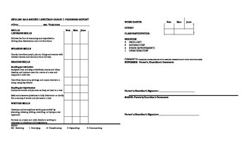 First Grade ESL Progress Report Card