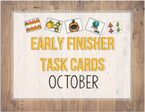 First Grade Early Finisher Task Card COVERS- October