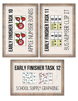 First Grade Early Finisher Task Card COVERS- August and September