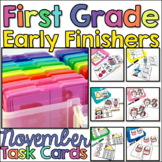 First Grade Early Finisher Task Cards - November