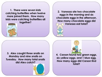First Grade Easter Addition Word Problems Task Cards - Scoot