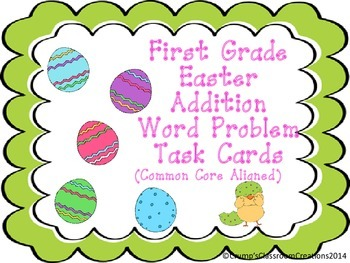 First Grade Easter Subtraction Word Problems Task Cards - Scoot