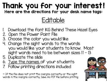 First Grade Editable Desktop Word Wall & Math Helper Name Tag