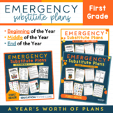 First Grade Editable Emergency Sub Plans | GROWING BUNDLE