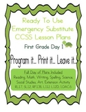 First Grade No Prep Editable CCSS Substitute, Emergency Lesson Plans, Day 1