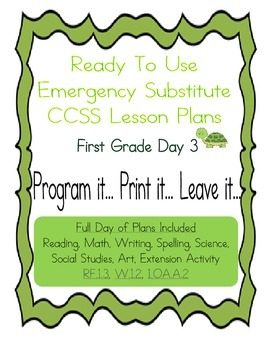 First Grade Editable No Prep CCSS Substitute, Emergency Lesson Plans Day 3