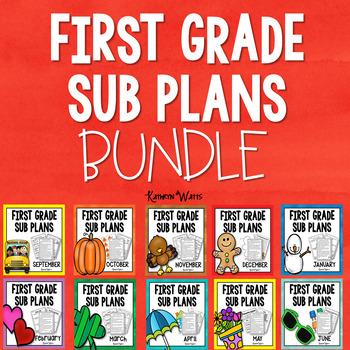 1st Grade Emergency Sub Plans Growing Bundle