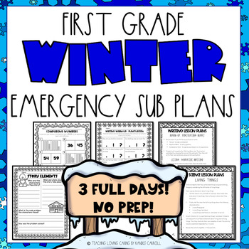 First Grade Emergency Sub Plans - Winter Edition-3 FULL Days!