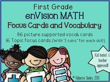 First Grade EnVision Math Essential Questions and Vocabulary Cards