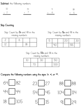 First Grade End Of The Year Math Assessment (TEKS Aligned)