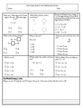 First Grade End of Year - Maths Assessment