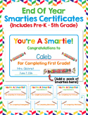 End of Year SMARTIES Certificates:  Pre-K through Fifth Grade Included!