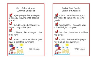 First Grade End of Year Summer Bucket Tags