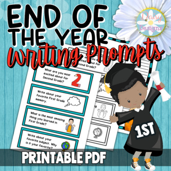 First Grade End of the Year Writing Prompt Task Cards