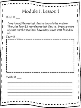 First Grade Engage NY Application Problem Journal Module 1 Lessons 1-10