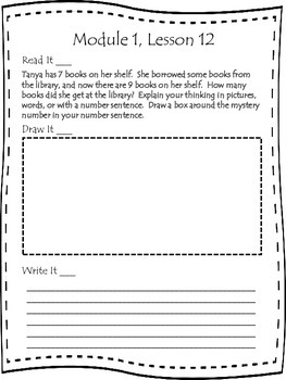 First Grade Engage NY Application Problem Journal Module 1 Lessons 11-20
