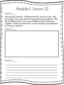 First Grade Engage NY Application Problem Journal Module 1 Lessons  21-30