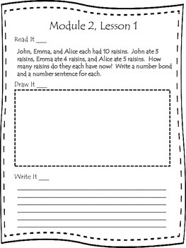 First Grade Engage NY Application Problem Journal Module 2 Lessons  1-11