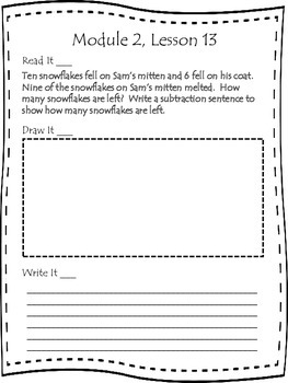 First Grade Engage NY Application Problem Journal Module 2 Lessons  12-21