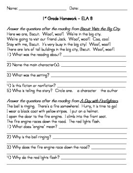 First Grade English / Language Arts Homework for the Full Year
