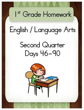 First Grade English / Language Arts Homework for the Second Quarter