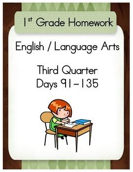 First Grade English / Language Arts Homework for the Third