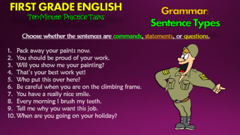 First Grade English Ten-Minute Practice Tasks! Grammar, Punctuation, & Spelling