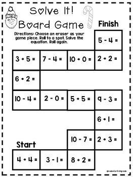 First Grade Eraser Math Centers: Winter