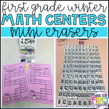 First Grade Eraser Math Centers: Winter