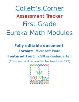 First Grade Eureka Math Assessment Tracker