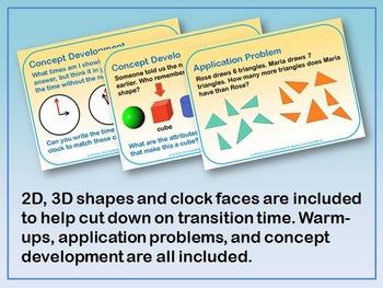 First Grade Eureka Math Module 5 PowerPoint Bundle (Shapes/Time)