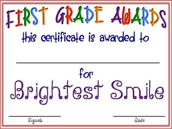 "First Grade ""FUN"" Awards"