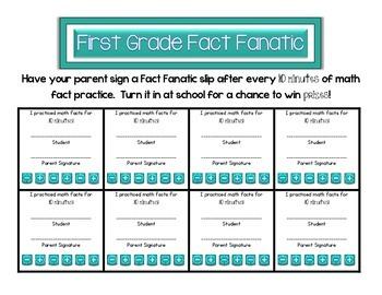First Grade Fact Fanatic- Math Fluency Incentive