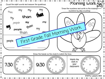 first grade fall morning work october november by witty lessons. Black Bedroom Furniture Sets. Home Design Ideas
